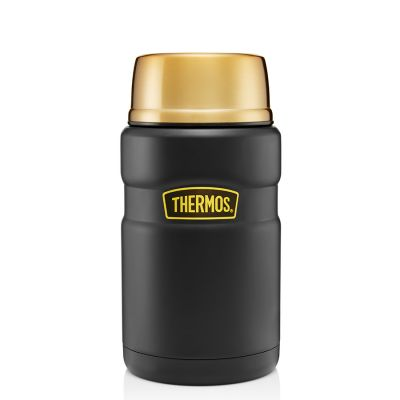 Stainless King™ Food Flask 710ml-Matt Black & Gold