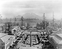 The Alaska-Yukon-Pacific Exposition with a view of Mount Rainier